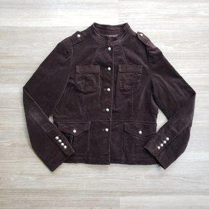 Retro Velvet Corduroy Military Style Brown Jacket